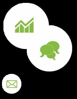 Graifk- Sprechblasen- und E-Mail-Icon
